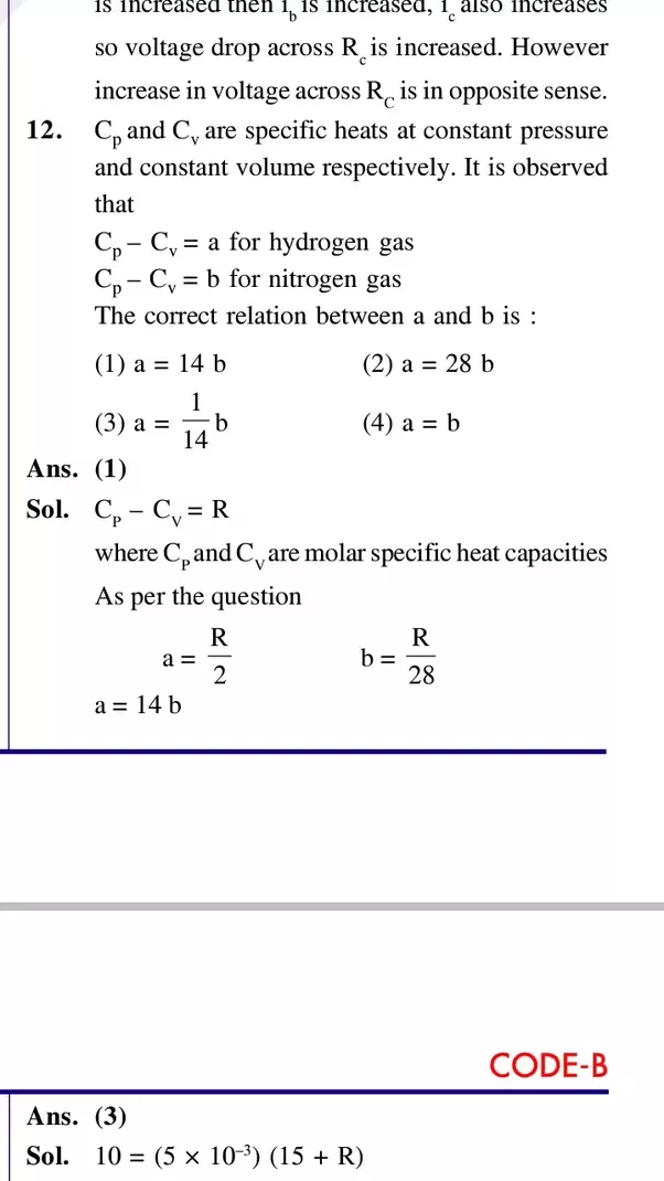 what is the answer of cp cv in the jee mains 2017 what s the