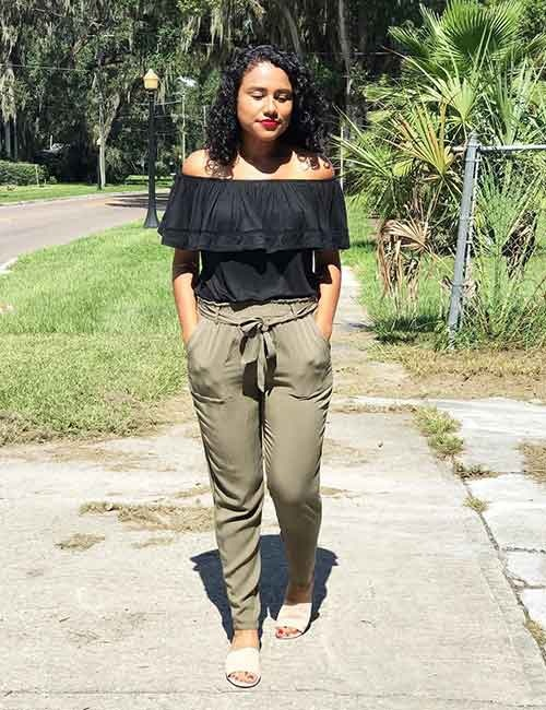 ffcc4c2b0e8 Wear a black off-shoulder top with your olive green pants. Go for a bare  neck