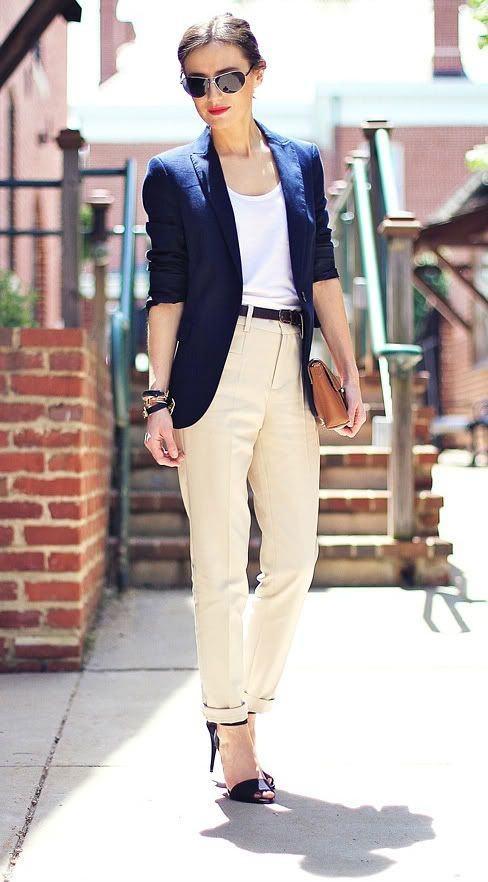 White Pants Shirt Blue Blazer Image Of Pants