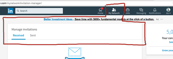 how to find sent invitations on linkedin