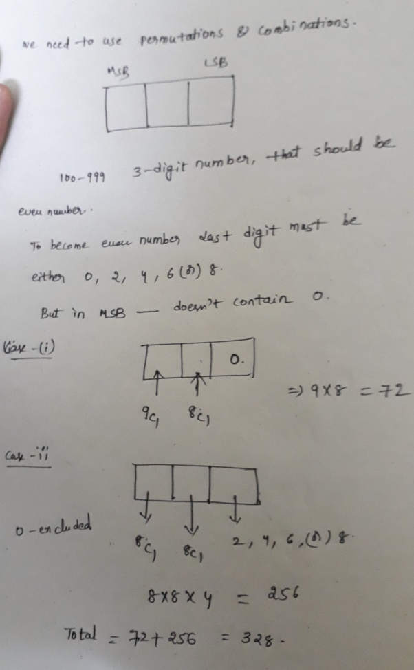 How many even numbers in the range of 100-999 can be formed without