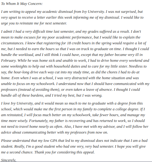 how to write a college readmission letter quora