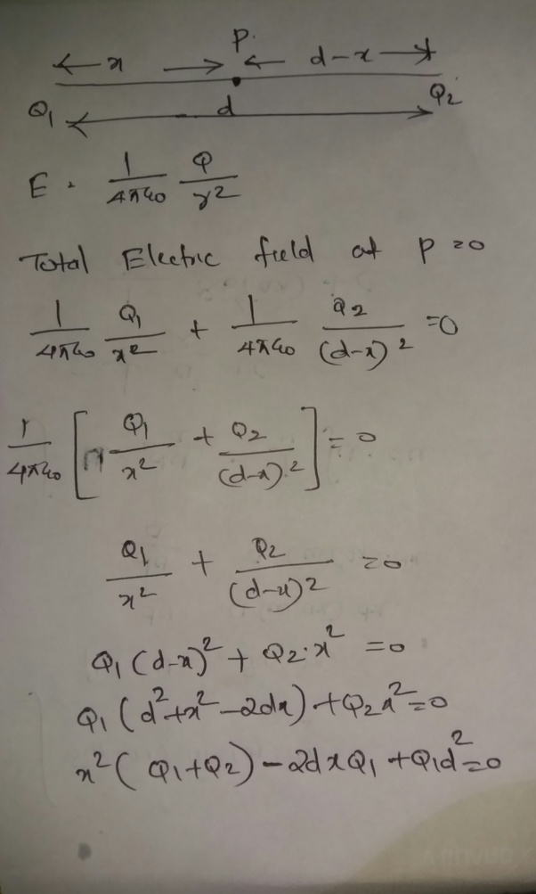 How To Calculate The Location Of The Point Where An Electric Field Is Zero  In A System Containing Two Opposite Charges - Quora