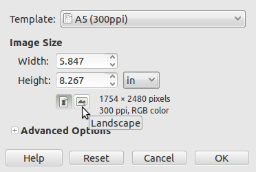 i want to design a 5x7 card in gimp and print it through kinkos