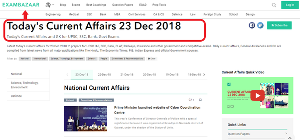 Which are the best 20 websites for GK and Current Affairs