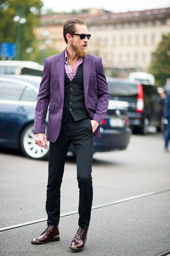 Image result for men in purple blazer
