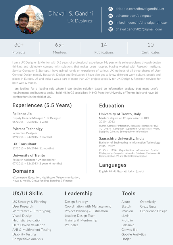 What Is The Format For A Graphic Designer Resume Fresher In India
