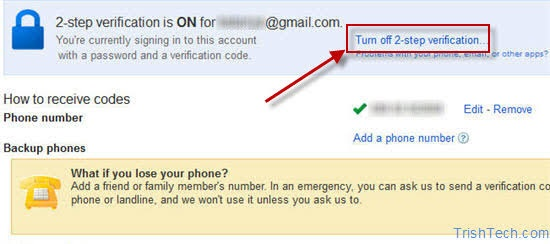 How to remove the verification code every time I log- in on my gmail