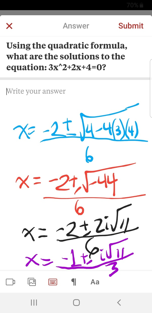 Using The Quadratic Formula, What Are The Solutions To The