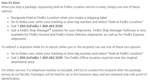 How to redirect a package using FedEx delivery manager like