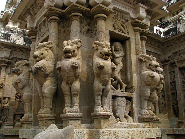 What does 'Yali', found in the pillars of many South Indian