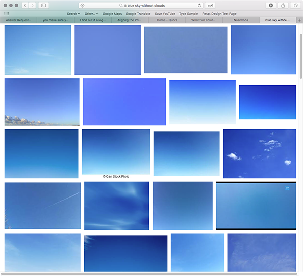 Google Blue Sky Without Clouds Just Look At All Those Diffe Color Grants