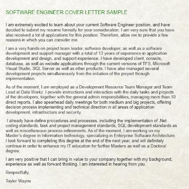 Here You Can Look For More Successful Examples: Software Engineer Cover  Letter.