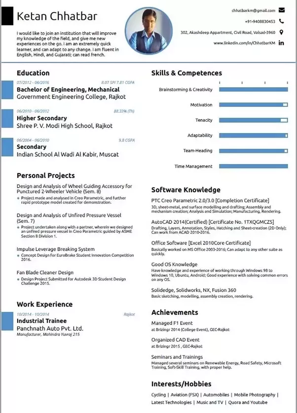 what is the best resume format for a mechanical