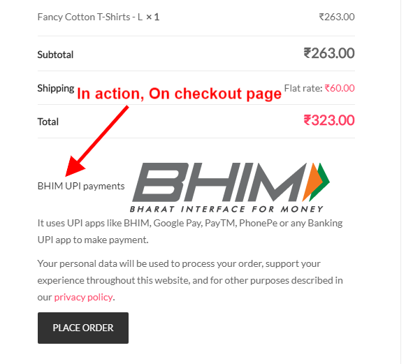 How to insert a 62016 73 256 BHIM UPI to my WordPress site
