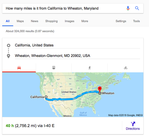 How Many Miles From >> How Many Miles Is It From California To Wheaton Maryland Quora
