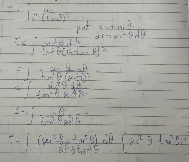 How To Integrate Dx/ (x^2 (1+x^2) ^2