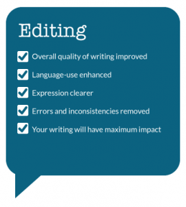 Writing services and editing services