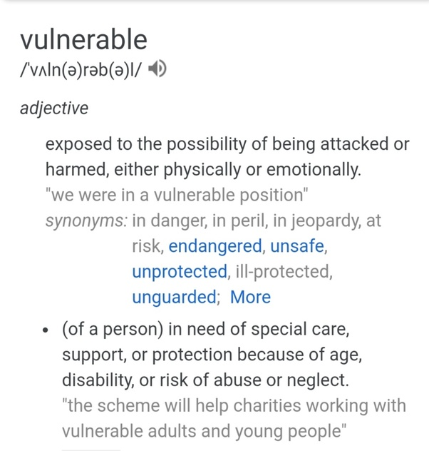 Vulnerability definition yahoo dating