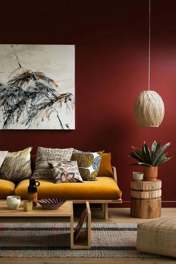 Which colour of sofa set will be the best against a red wall ...