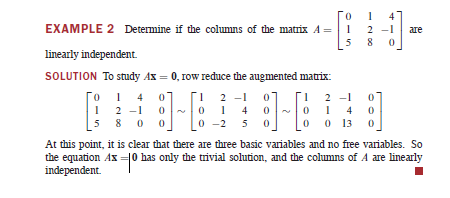 how to know a matrix row is linear independent
