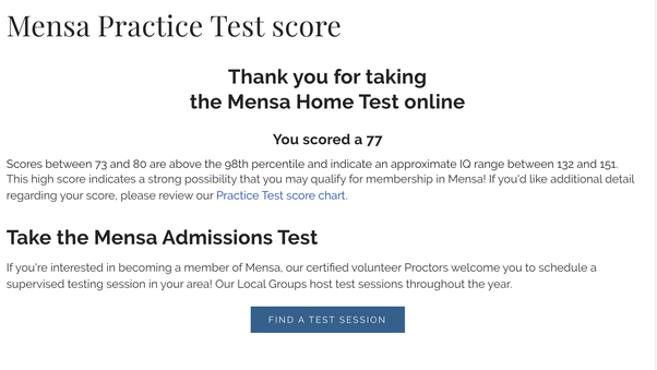 Is the Mensa online practice a reliable IQ measurement (the $18 paid