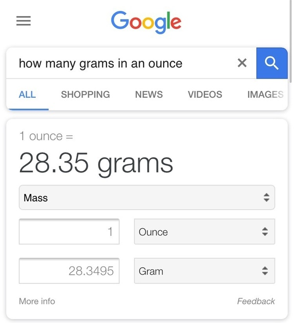 How Many Grams Are There In 1 Ounce Of Quora