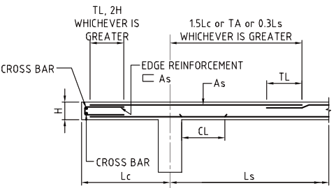 What are the typical reinforcement details of a cantilever for Rcc home show