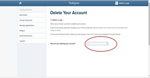 How to delete an instagram account that was created though facebook select your reason why you want to delete your account ccuart Image collections