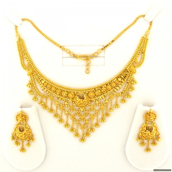 Gold Necklace And Earrings Set 22kt Indian Jewelry With: Where Can I Buy Indian Gold Jewelry?