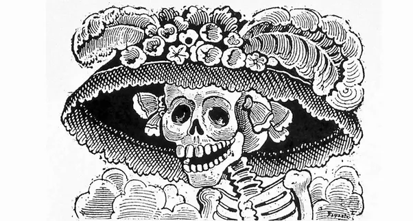 jose guadalupe posadas was a famous mexican engraver from early 20th century and he pictured a lot of skulls and skeletons just like this one