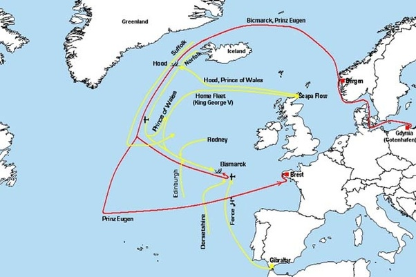 Why did german ships like the bismarck use the denmark strait as i am sure you can discern by looking at this map both those routes put the bismarck considerably closer to the vastly more powerful royal navys bases gumiabroncs Choice Image
