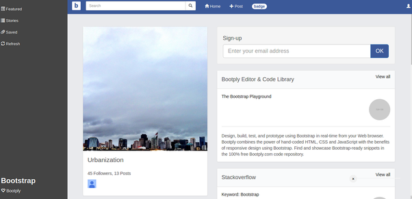 Is there a bootstrap template which resembles a social networking ...
