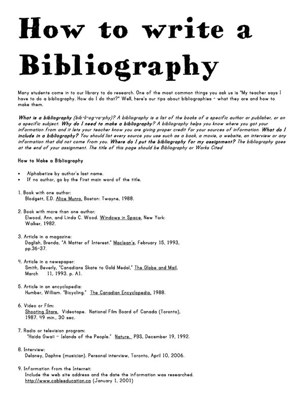 Sample of a bibliography