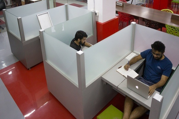 This Removes One BIG Supposed Disadvantage Of Open Office Design   Privacy.  In Cocoon Desks You Get The Privacy You Need While Working.