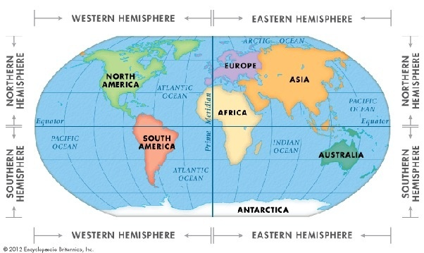 As You Can See From This Map, Both Hemispheres Are Divided In The Middle,  Dividing Earthu0027s Continents As Shown Below. Western Hemisphere ...