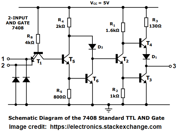 Why Does Ic 7408 And Create A Voltage Difference Between Its 3rd