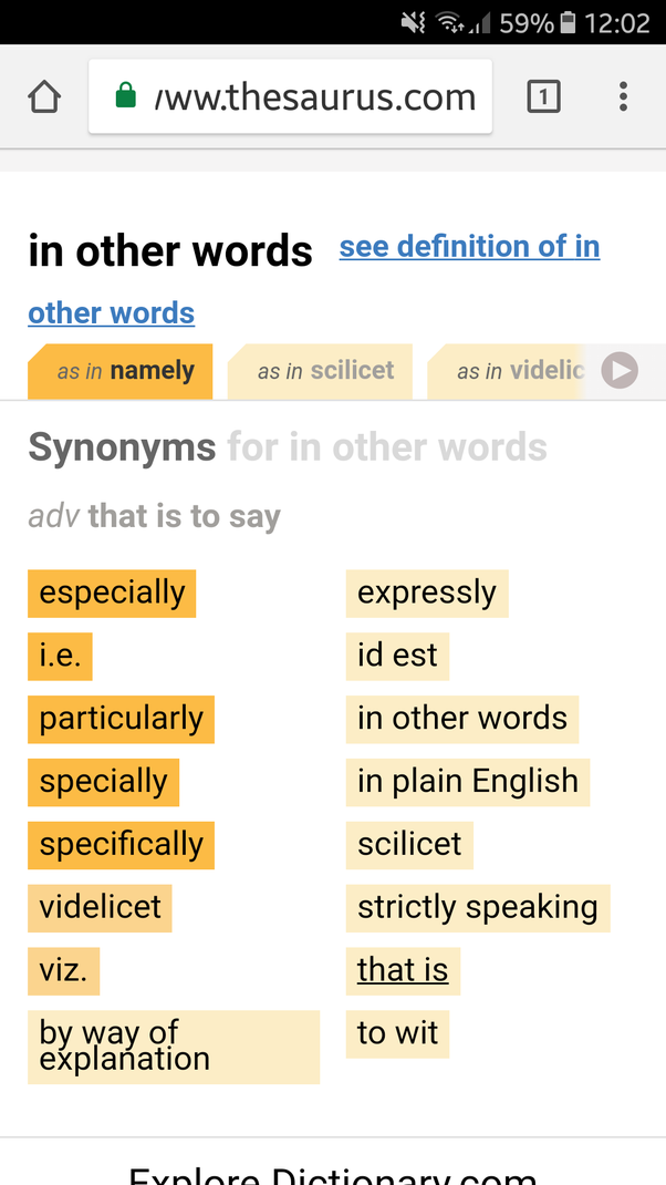 What are synonyms for 'in other words'? - Quora