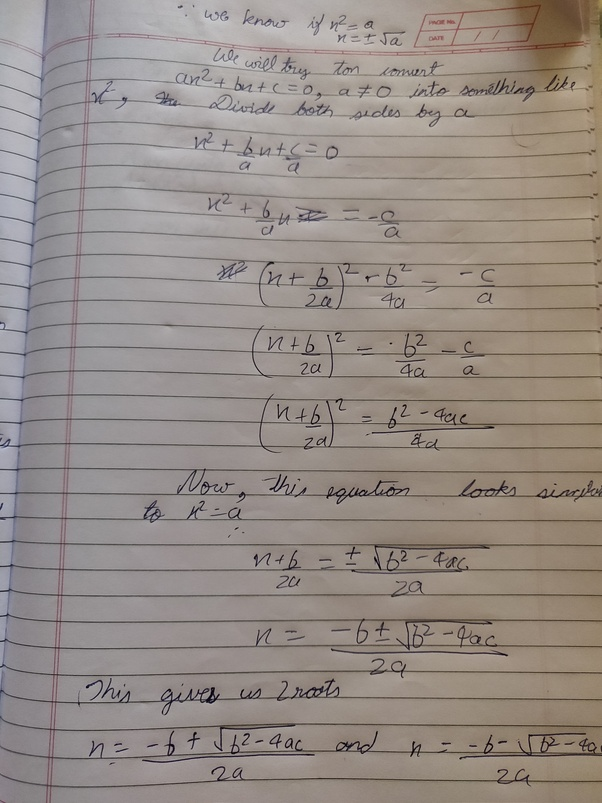 What is the algorithm for the quadratic equation ax+Bx+C=0? - Quora