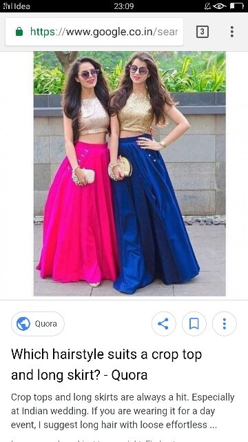 c053f880d3b54 Crop tops with long skirts look beautiful ….you can also pair it eith  palazzo