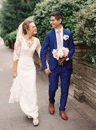 What colour wedding dress matches with a royal blue suit? - Quora