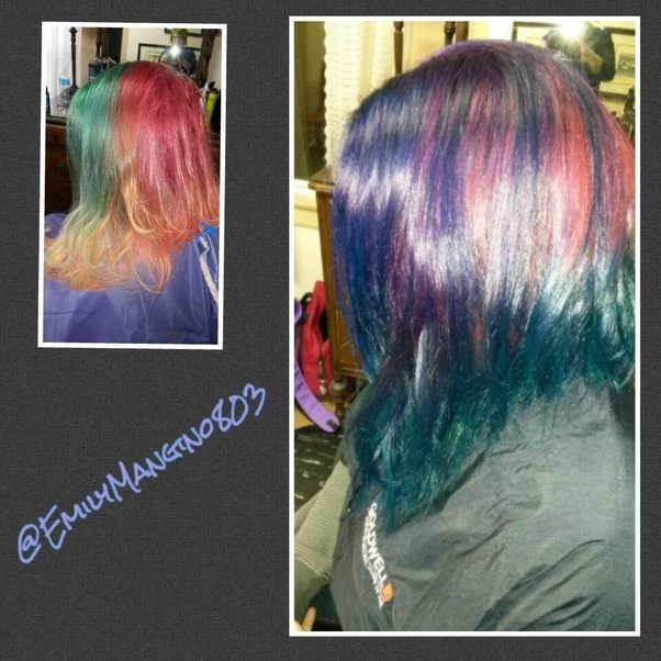 How to dye my hair purple without bleach quora purple directly over the green and red no bleaching my hair was in the right condition to do so with the correct products solutioingenieria Gallery