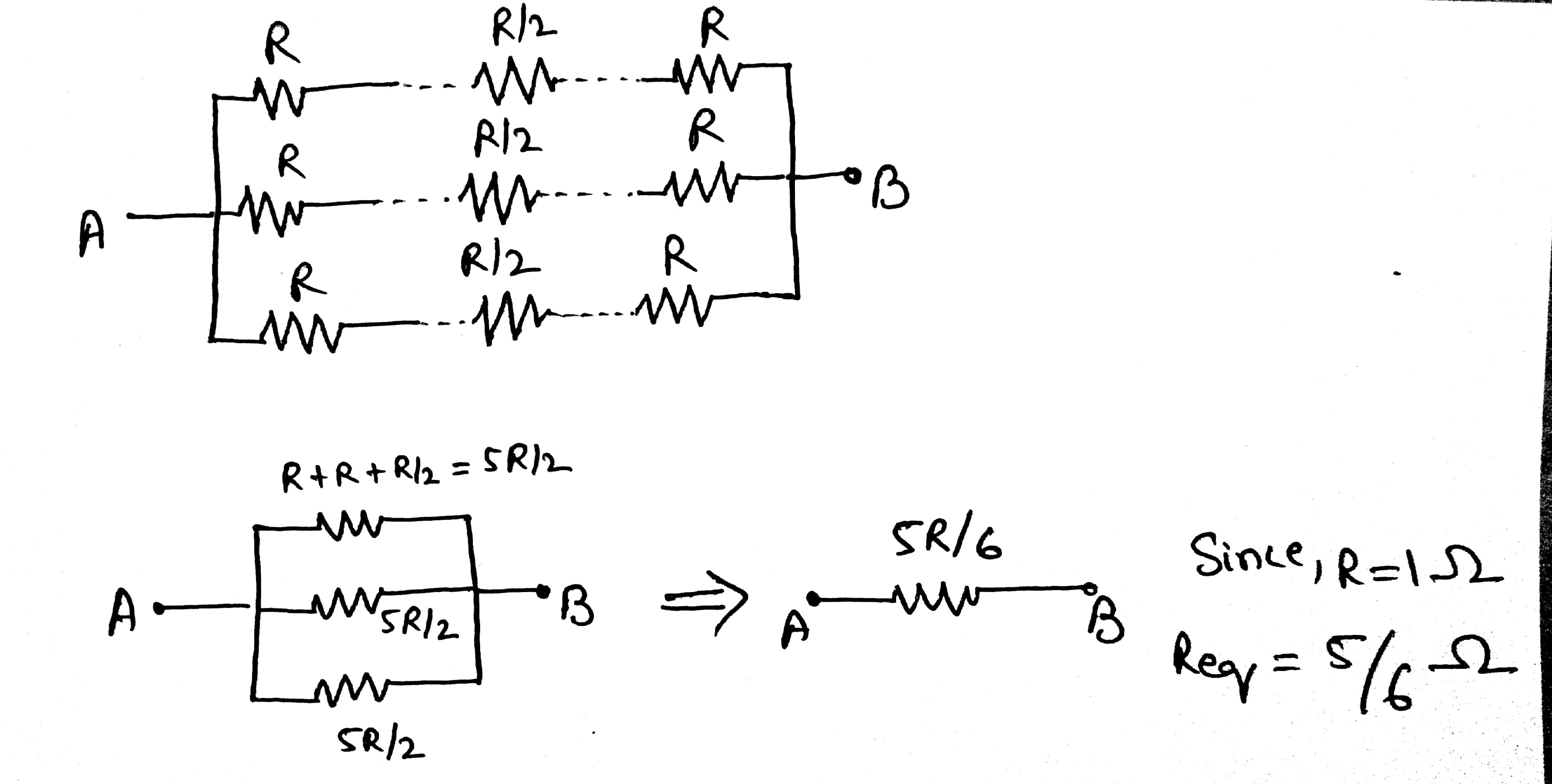 Twelve 1 Ohm Resistances Are Used As Edges To Form A Cube What Is The Combined Resistance Of Resistors In Series Sum All By Single Resistor Having Value R 2when Two Parallel Have Same Their Equivalent Reduces Half
