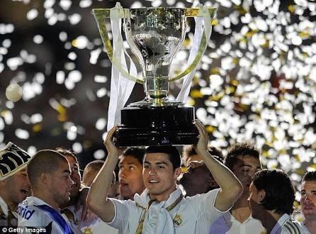 Cristiano Ronaldo With The 2012 La Liga Trophy