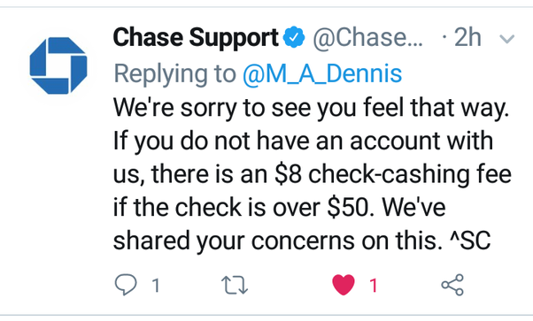 Why did Chase Bank charge me $8 for cashing a $54 check? - Quora