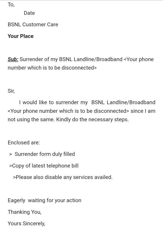 How to write a perfect letter for disconnection of bsnl landline this is an sample of the request letter for disconnection altavistaventures Gallery