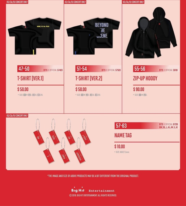 bts love yourself tour merch 2018
