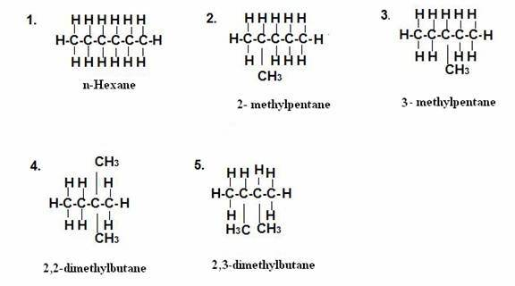 what are the names and structural formulas of all possible