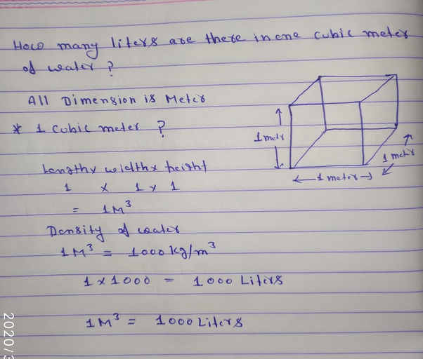 How Many Liters Are There In One Cubic Meter Of Water Quora