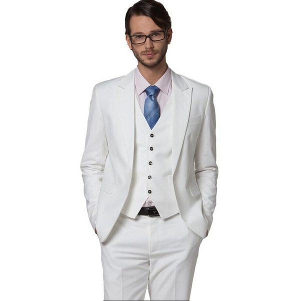 What shirt should I use with a white suit with a blue tie? - Quora